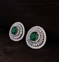Load image into Gallery viewer, Emerald Green Diamond Stud Earrings