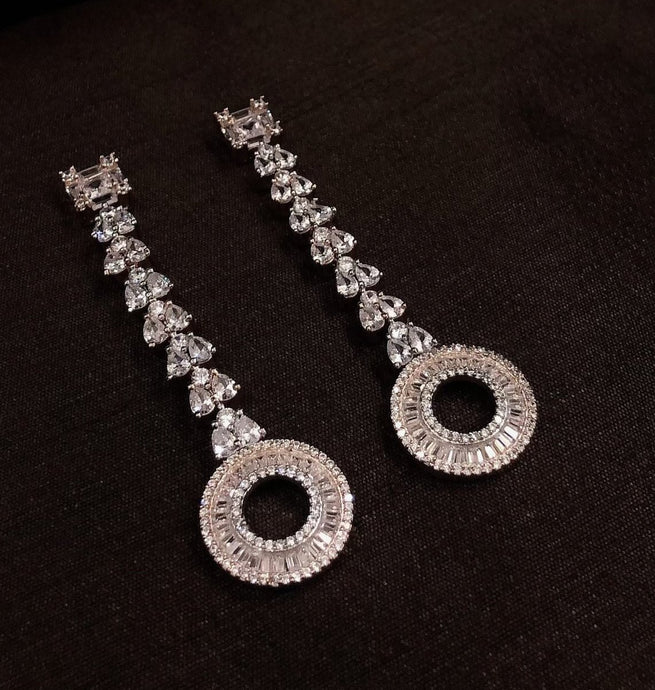 Long Diamond Chandelier  Earrings baguettes