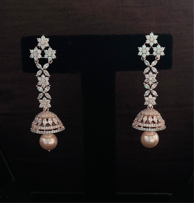 Diamond Chandelier Long Earrings with Pearl Drop
