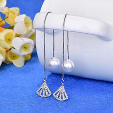 Load image into Gallery viewer, Ikasiya Silver Long Pearl Earrings