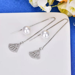 Ikasiya Silver Long Pearl Earrings