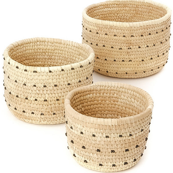 Handwoven Beaded Nesting Baskets/Planters