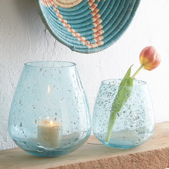 Turquoise Pot Vase Bubble Glass