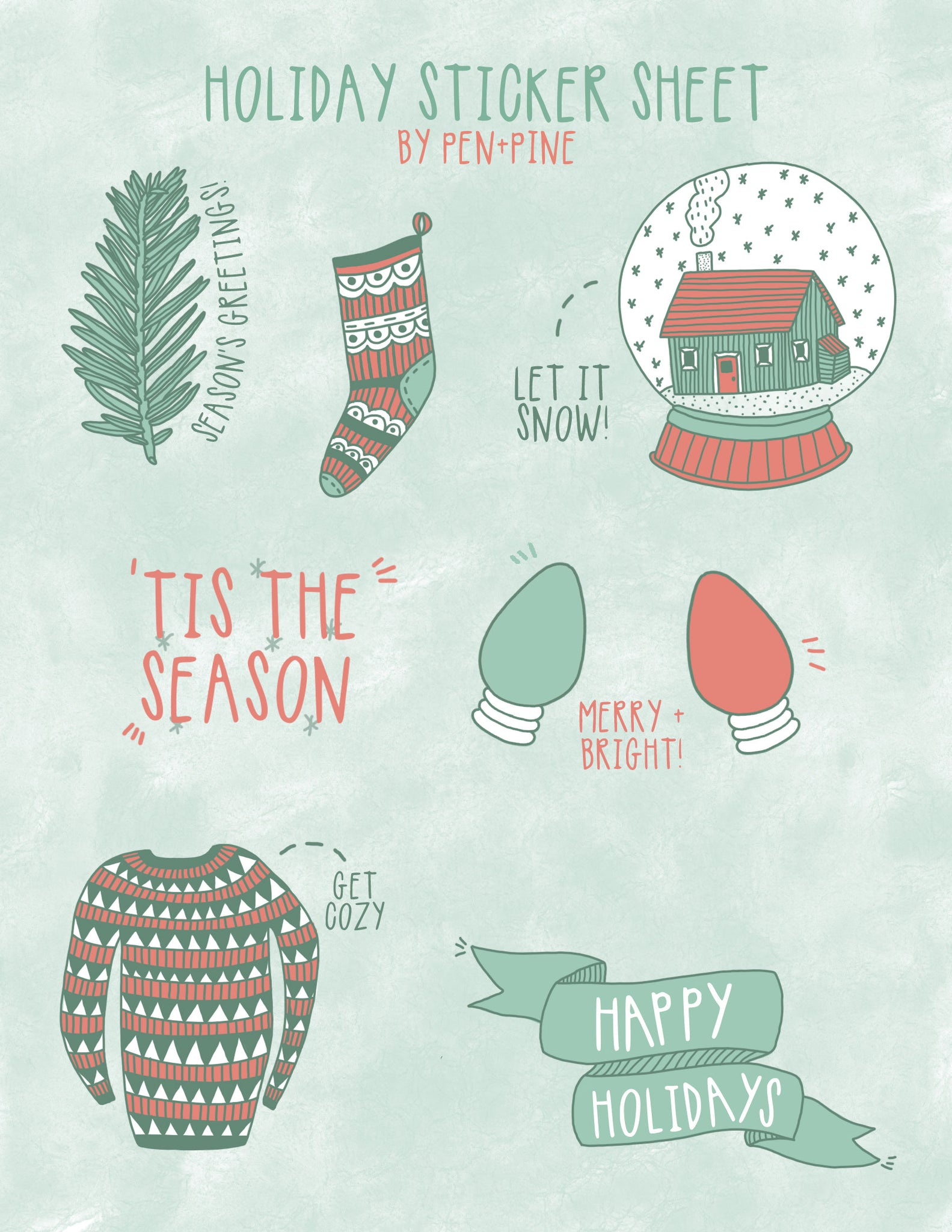 Holiday Sticker Sheet