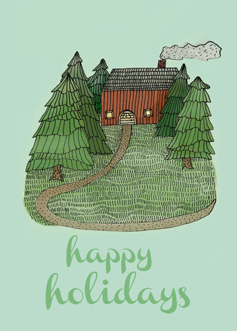 Happy Holidays Cabin Card + Card Pack