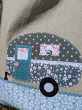 Load image into Gallery viewer, Pastels caravan applique lined tote bag sewing kit