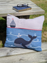 Load image into Gallery viewer, reading cushion with whale design