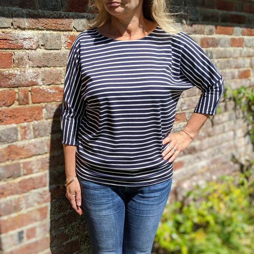 Batwing top navy stripe jersey sewing kit
