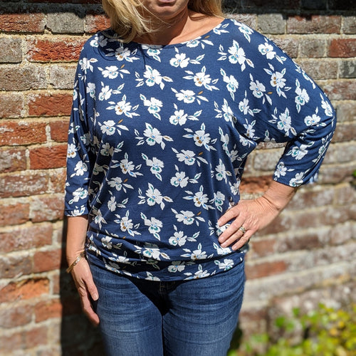 Batwing top navy floral jersey sewing kit