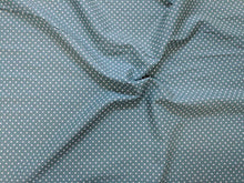 Load image into Gallery viewer, Teal small spot fabric. 100% cotton. 112cm wide