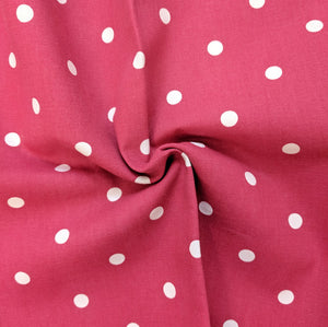 Red and White Spot Heavyweight Fabric - 1/2 mtr