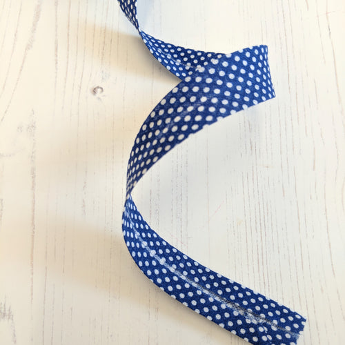 Bias Binding 20mm - navy blue spot