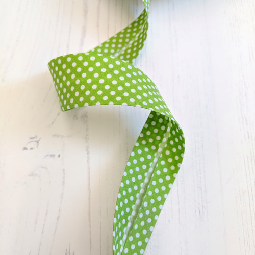 Bias Binding 30mm - lime green spot