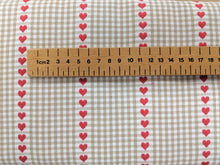 Load image into Gallery viewer, Hearts and gingham heavyweight cotton fabric - 1/2 mtr
