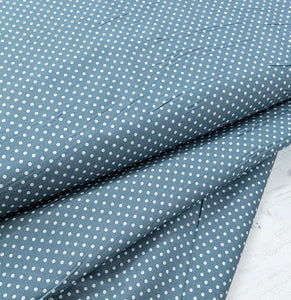 Teal small spot fabric. 100% cotton. 112cm wide