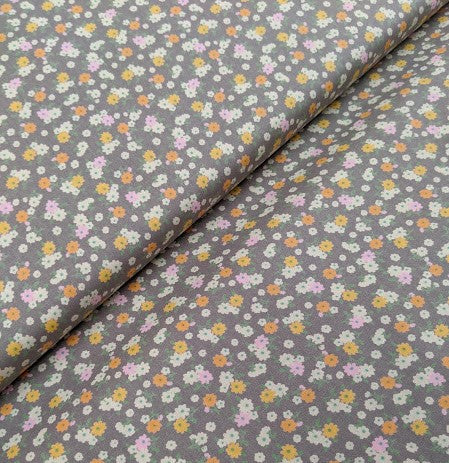 Peachy disty floral sewing fabric. 100% cotton. 112cm wide