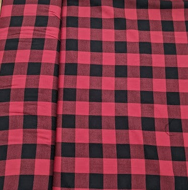 Red and Black Lumberjack Woven Check fabric