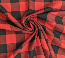 Load image into Gallery viewer, Red and Black Lumberjack Woven Check fabric