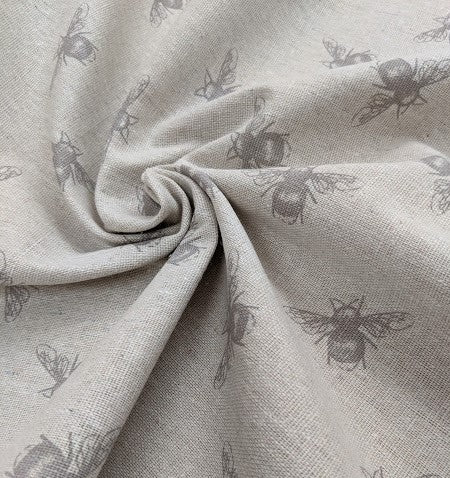 Pretty bee print hessian/linen heavyweight fabric