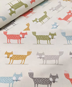 Cute foxy print heavyweight cotton fabric