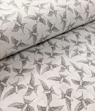 Load image into Gallery viewer, Gorgeous linen look swallow print viscose fabric. 140cm wide.