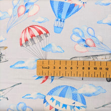 Load image into Gallery viewer, Gorgeous cotton fabric with a hot air balloon and planes print
