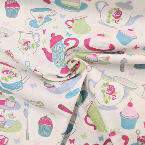 Colourful teapot and cupcake cotton fabric
