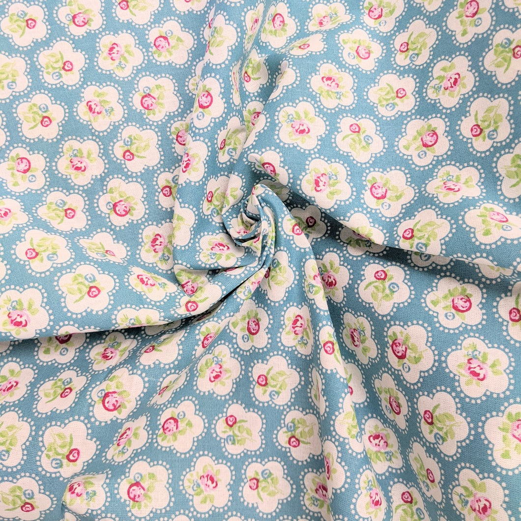 teal floral cotton fabric