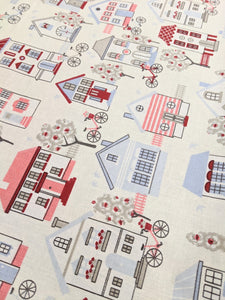 Cute houses cotton fabric
