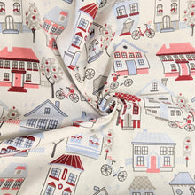 Load image into Gallery viewer, Cute houses cotton fabric