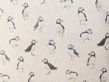 Load image into Gallery viewer, Puffins on linen heavyweight cotton fabric