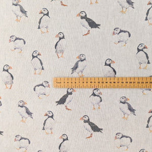 Puffins on linen heavyweight cotton fabric