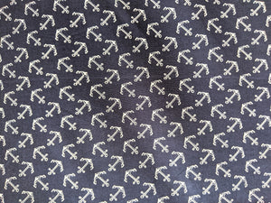 Navy anchors cotton fabric