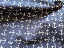 Load image into Gallery viewer, Navy anchors cotton fabric
