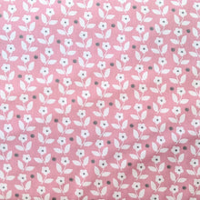 Load image into Gallery viewer, Pretty pink background with white ditsy floral and dot cotton fabric