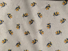 Load image into Gallery viewer, Bee print (large) in yellow hessian/linen heavyweight fabric - 1/2mtr