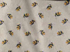 Bee print (large) in yellow hessian/linen heavyweight fabric - 1/2mtr