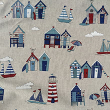 Load image into Gallery viewer, Beach huts and lighthouses heavyweight fabric - 1/2mtr