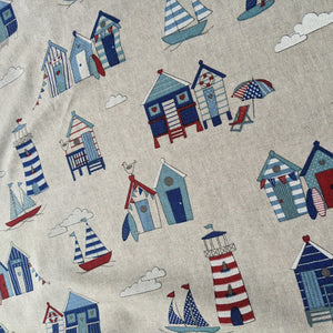 Beach huts and lighthouses heavyweight fabric - 1/2mtr