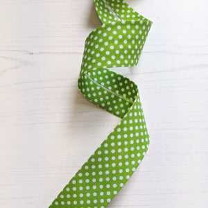bias binding lime green spot