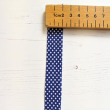 Load image into Gallery viewer, bias binding navy blue spot