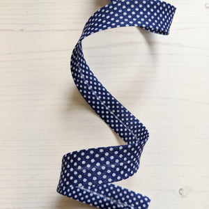 bias binding navy blue spot