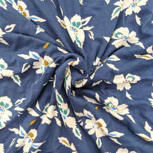 Pretty floral navy jersey fabric