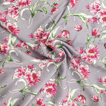Load image into Gallery viewer, Pretty pink floral viscose on a mauve background