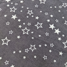 Load image into Gallery viewer, Lovely soft needle cord in dark grey with a white star print