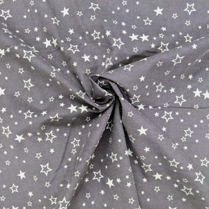 Lovely soft needle cord in dark grey with a white star print