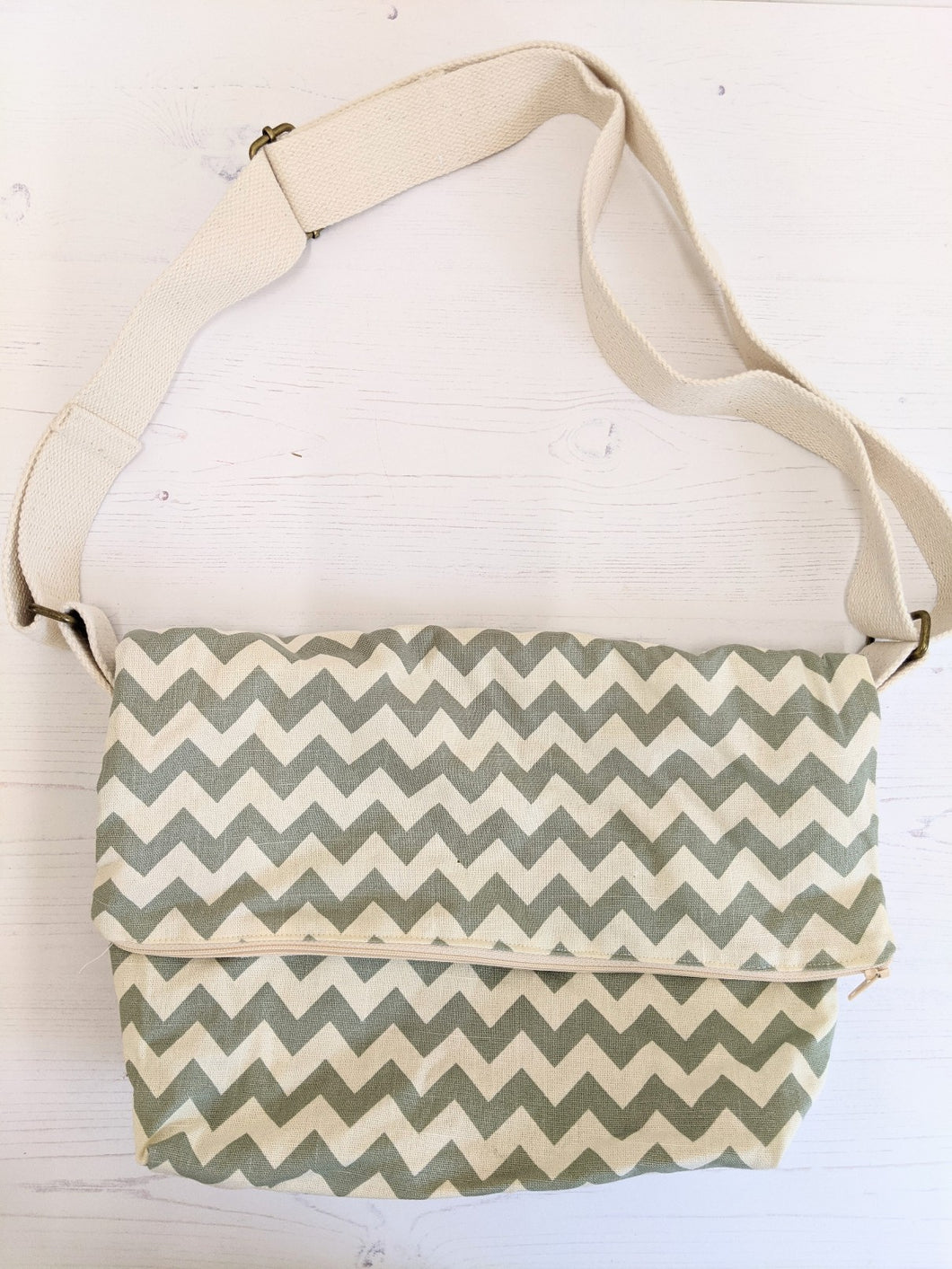 Slouch bag grey chevron Handmade Sample