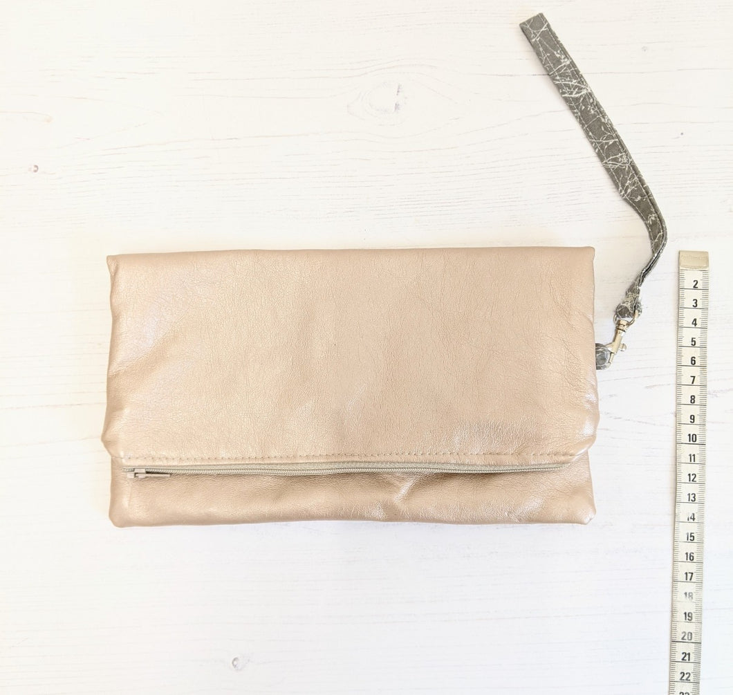Clutch bag rose faux-leather Handmade Sample
