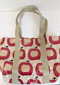 Oil cloth tote bag red apples Handmade Sample