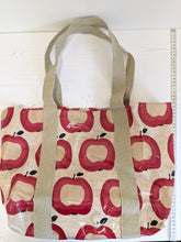 Load image into Gallery viewer, Oil cloth tote bag red apples Handmade Sample